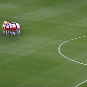 The New York Red Bulls team huddle before the start of the game against the Montreal Impact at Red Bulls Stadium, New Jersey. USA. 31st March 2012. Photo Tim Clayton