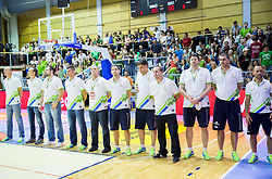 Team Slovenia during friendly basketball match between National teams of Slovenia and Georgia in day 2 of Adecco Cup 2014, on July 25, 2014 in Dvorana OS 1, Murska Sobota, Slovenia. Photo by Vid Ponikvar / Sportida.com