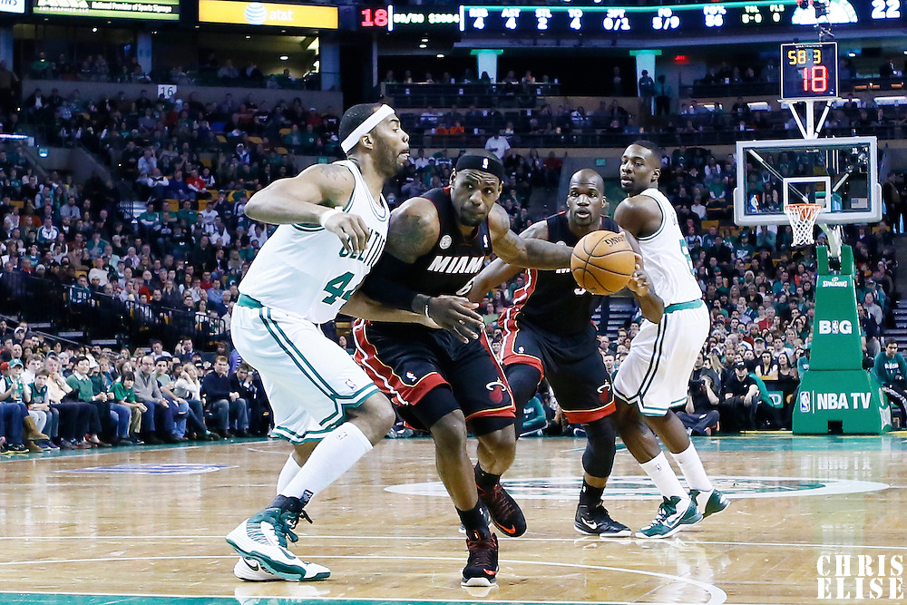 27 January 2013: Miami Heat small forward LeBron James (6) drives past Boston Celtics power forward Chris Wilcox (44) during the Boston Celtics 100-98  2OT victory over the Miami Heat at the TD Garden, Boston, Massachusetts, USA.
