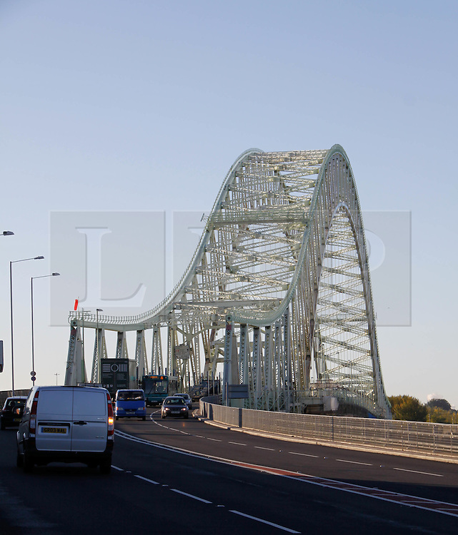 """Licensed to London News Pictures. 20.10.2010 Runcorn Widnes Bridge is expected to be redeveloped if the Chancellor gives the go-ahead in the Spending Review today. The Bridge will become a toll bridge along with its yet to be built sister bridge, 'The Mersey Gateway' if the project is given the green light in the  Government's Spending Review.  Mersey Gateway bosses have said they are 'strongly encouraged' by comments from Chancellor George Osborne MP that Mersey Gateway was an """"incredibly important project that I am really keen to see go ahead""""."""