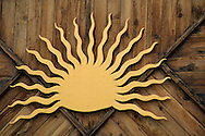 Sun motif on building, Moab, UTAH
