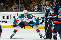 KELOWNA, CANADA - DECEMBER 29:  Alex Swetlikoff #17 of the Kelowna Rockets lines up for the face-off against the Kamloops Blazers on December 29, 2018 at Prospera Place in Kelowna, British Columbia, Canada.  (Photo by Marissa Baecker/Shoot the Breeze)