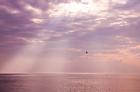 New York, Long Island - rays of sunshine from a cloudy sky on the Sound.