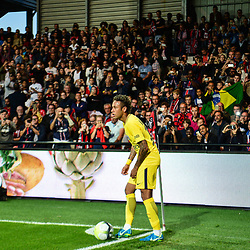 Neymar JR of PSG prepares to take a corner during the Ligue 1 match between EA Guingamp and Paris Saint Germain at Stade du Roudourou on August 13, 2017 in Guingamp, . (Photo by Dave Winter/Icon Sport)