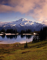 Glacier Peak and Image Lake in evening light from Miners Ridge, Glacier Peak Wilderness Washington USA