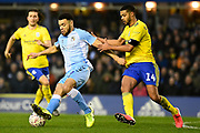 Coventry City striker Max Biamou (9) battles for possession  with Birmingham City defender (on loan from Chelsea) Jake Clarke-Salter (14) during the The FA Cup match between Coventry City and Birmingham City at the Trillion Trophy Stadium, Birmingham, England on 25 January 2020.