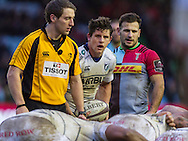 Referee Andy Brace, Lloyd Williams and Danny Care at a scrum, Harlequins v Cardiff Blues in a European Challenge Cup match at Twickenham Stoop, Twickenham, London, England, on 17th January 2016