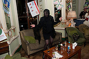 KIM GRAHOME; BOY GEORGE  Philip Sallon's mass paranoia swine flu birthday party. DRESS: DISEASE RELATED OR SWINE, Home House. Portman Sq. London. 13 November 2009.