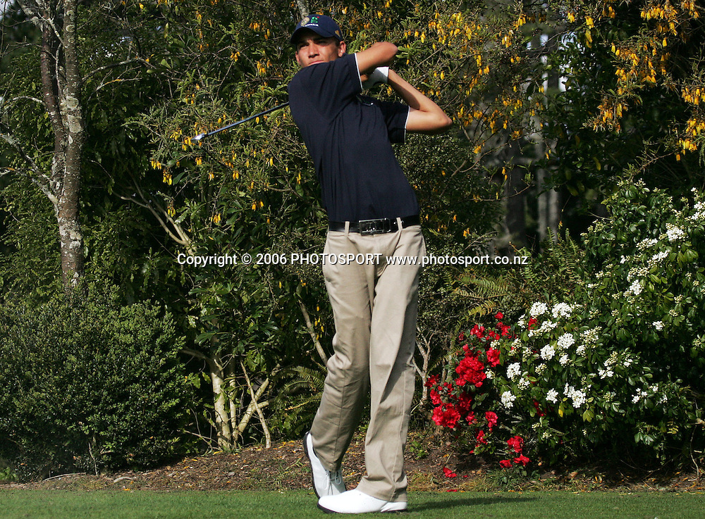 Australia's Matt Jager tees off during the Clare Higson Trophy singles match between New Zealand's Danny Lee and Australia's Matt Jager at Hamilton Golf Club in Hamilton, New Zealand on Tuesday 26 September, 2006. Danny Lee won the match 2 and 1. Photo: Tim Hales/PHOTOSPORT