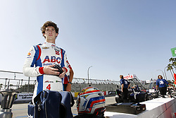 April 13, 2018 - Long Beach, California, United States of America - April 13, 2018 - Long Beach, California, USA: Matheus Leist (4) sits on pit road and puts his helmet on prior to practice for the Toyota Grand Prix of Long Beach at Streets of Long Beach in Long Beach, California. (Credit Image: © Justin R. Noe Asp Inc/ASP via ZUMA Wire)
