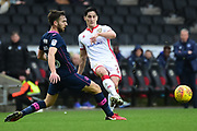 Milton Keynes Dons defender Dean Lewington (3) gets away a pass during the EFL Sky Bet League 1 match between Milton Keynes Dons and Portsmouth at stadium:mk, Milton Keynes, England on 10 February 2018. Picture by Dennis Goodwin.
