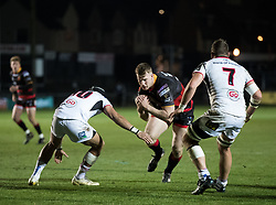 Dragons' Jack Dixon under pressure from Ulster Rugby's Christian Lealiifano<br /> <br /> Photographer Simon King/Replay Images<br /> <br /> Guinness Pro14 Round 10 - Dragons v Ulster - Friday 1st December 2017 - Rodney Parade - Newport<br /> <br /> World Copyright © 2017 Replay Images. All rights reserved. info@replayimages.co.uk - www.replayimages.co.uk