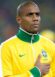Maicon of Brazil listening to the national anthem during the 2010 FIFA World Cup South Africa Group G Second Round match between Brazil and République de Côte d'Ivoire on June 20, 2010 at Soccer City Stadium in Soweto, suburban Johannesburg, South Africa.  Brazil defeated Ivory Coast 3-1. (Photo by Vid Ponikvar / Sportida)