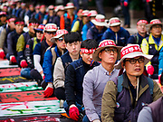 "09 OCTOBER 2018 - SEOUL, SOUTH KOREA:  Hundreds of Samsung workers marched through central Seoul Tuesday to draw attention to the company's labor issues, which includes punishing workers for joinging unions, retaliating against labor organizers and profiling potential ""troublemakers"" who are thought likely to organize. Samsung has also started layoffing workers, especially younger ones, as company profits have decreased. Layoffs in South Korea have been relatively rare, many workers thought a job with Samsung and other South Korean industrial giants was a job for life.    PHOTO BY JACK KURTZ"