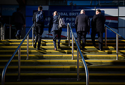 © Licensed to London News Pictures. 03/10/2017. Manchester, UK. Delegates arrive on day three of the Conservative Party Conference. The four day event is expected to focus heavily on Brexit, with the British prime minister hoping to dampen rumours of a leadership challenge. Photo credit: Ben Cawthra/LNP