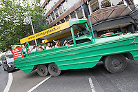 Viking Splash Tour vintage WWII amphibious vehicle in Dublin Ireland, costumed Viking tour guides bring tourists through the streets of Dublin and splashes into the water at the Grand Canal Docklands