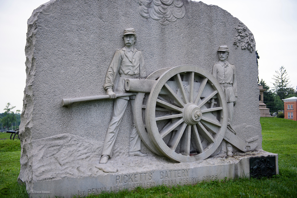 Memorial for Picketts' Battery, Gettysburg National Military Park, Pennsylvania, USA.