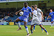 Gillingham forward Frank Nouble (45) and Oldham Athletic defender Jamie Reckford (3) during the EFL Sky Bet League 1 match between Gillingham and Oldham Athletic at the MEMS Priestfield Stadium, Gillingham, England on 8 October 2016. Photo by Martin Cole.