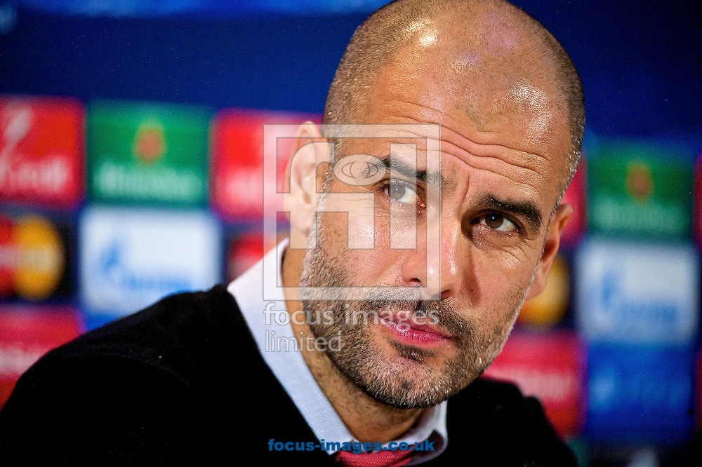 Bayern Munich manager Pep Guardiola at the press conference ahead of the UEFA Champions League match v Manchester City FC at the Lowry Hotel, Manchester<br /> Picture by Ian Wadkins/Focus Images Ltd +44 7877 568959<br /> 24/11/2014