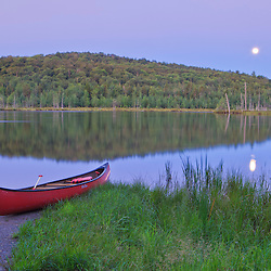 Mud Pond in Zack Woods.  Hyde Park, Vermont.  Moonset. Green River Reservoir State Park