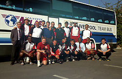 RUSTENBURG, REPUBLIC OF SOUTH AFRICA - Tuesday, May 24, 1994: Liverpool players and staff at the Suncity resort in South Africa during an end-of-season tour. Back row L-R: manager Roy Evans, Neil Ruddock, coach Ronnie Moran, Don Hutchinson, Steve Nicol, Ashley Neal, Phil Charnock, physio Max Thompson, David James, Rob Jones. Front row L-R: Michael Thomas, coach Sammy Lee, Lee Jones, Iain Brunskill, Andrew Harris, John Barnes, Nigel Clough. (Pic by David Rawcliffe/Propaganda)