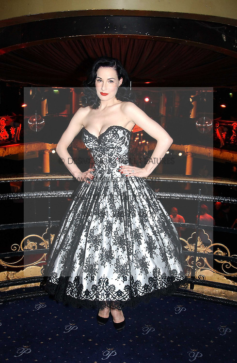 DITA VON TEESE at a party and fashion show by Agent Provocateur at the Cafe de Paris, Coventry Street, London W1 on 14th February 2005.<br />