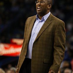 Mar 24, 2010; New Orleans, LA, USA; Cleveland Cavaliers head coach Mike Brown watches his team during the first half against the New Orleans Hornets at the New Orleans Arena. Mandatory Credit: Derick E. Hingle-US PRESSWIRE