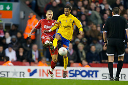 LIVERPOOL, ENGLAND - Saturday, January 26, 2008: Liverpool's Martin Skrtel and Havant and Waterlooville's Rocky Baptiste during the FA Cup 4th Round match at Anfield. (Photo by David Rawcliffe/Propaganda)