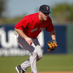 February 19, 2011; Fort Myers, FL, USA; Boston Red Sox first baseman Kevin Youkilis during spring training at the Player Development Complex.  Mandatory Credit: Derick E. Hingle