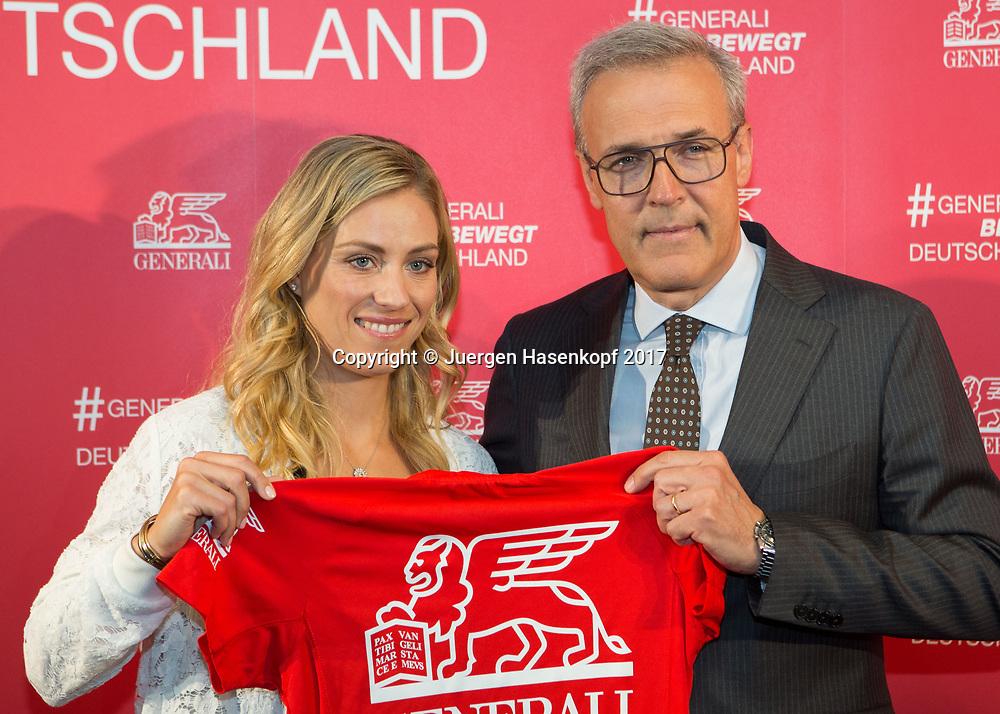 Tennis Profi ANGELIQUE KERBER (GER) und Generali Deutschland-Chef Giovanni Liverani bei einem Sponsoren Termin  in Muenchen
