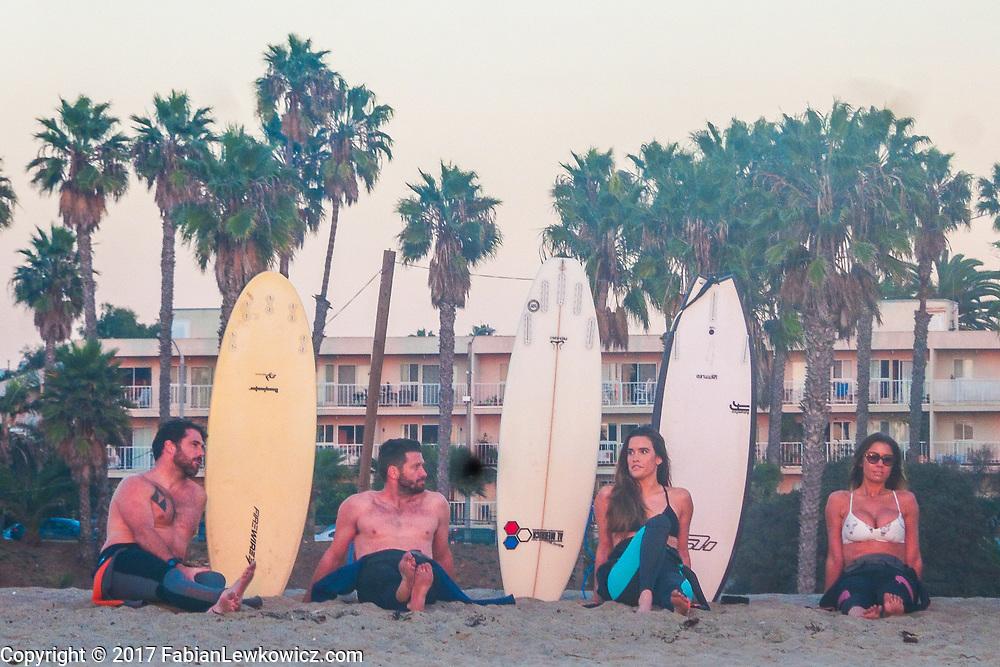 surfing at santa monica beach, tuesday, december 19, 2017