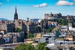 Skyline of city of Edinburgh from Calton Hill in Scotland United Kingdom