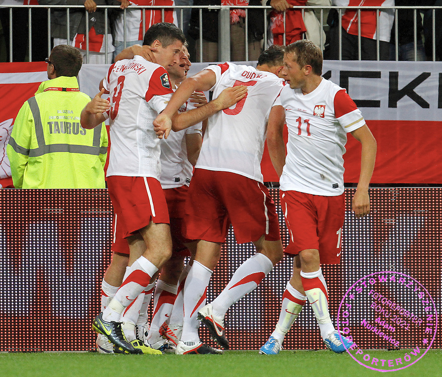 Gdansk 06/09/2011.Football International Friendly.PGE Arena.Poland v Germany.Robert Lewandowski of Poland celebrates the opening goal ..Fot: Piotr Hawalej / WROFOTO