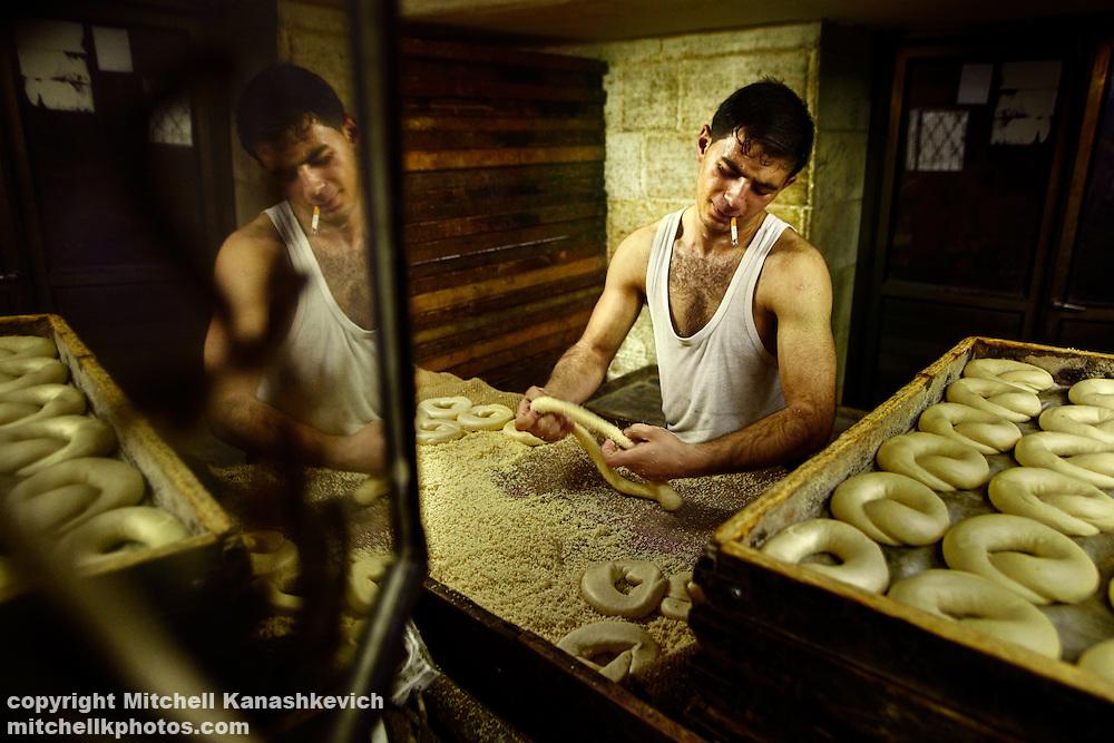 Palestenian baker making bread in East Jerusalem, Israel