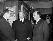 05/02/1960<br /> 02/05/1060<br /> 05 February 1960 <br /> Premiere of Mise Eire at the Regal Cinema, Dublin.  Image shows President Eamon de Valera with Donall Ó Morain, (right) Chairman of Gael Linn  and George Morisson, director of the film (left) arriving at the premiere of the film.