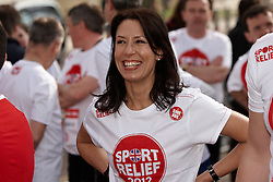 © Licensed to London News Pictures.  14/03/2012. LONDON, UK. Debbie Abrahams, MP for Oldham East and Saddleworth (pictured), prepares for the Sport Relief Westminster Mile run by MPs and Peers in St James Park each year in aid of the charity. The Mile was won by George Eustice (not pictured), MP for Camborne, Redruth and Hayle in a time of 5 minutes 28 seconds. Photo credit :  Cliff Hide/LNP