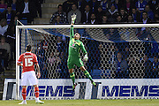 Walsall goalkeeper Neil Etheridge sees the ball clear the bar during the Sky Bet League 1 match between Gillingham and Walsall at the MEMS Priestfield Stadium, Gillingham, England on 12 April 2016. Photo by Martin Cole.
