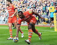 Vereneki Goneva of Leicester Tigers scores a try during the Aviva Premiership match at the Ricoh Arena, Coventry<br /> Picture by Michael Whitefoot/Focus Images Ltd 07969 898192<br /> 09/05/2015