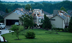 Homes show damage south of North 1100 Road after a tornado moved through Lawrence, Kansas, on Tuesday night, May 28, 2019. Photo byTammy Ljungblad/Kansas City Star/TNS/ABACAPRESS.COM