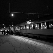 The night train gets ready to pull away from the station in Jurbise