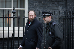 © Licensed to London News Pictures. 29/11/2016. London, UK. Nick Timothy (L), adviser to Prime Minister Theresa May arrives on Downing Street ahead of the weekly Cabinet meeting. Photo credit: Rob Pinney/LNP