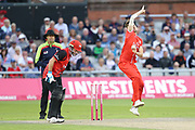 Lancashires Toby Lester during the Vitality T20 Blast North Group match between Lancashire Lightning and Durham Jets at the Emirates, Old Trafford, Manchester, United Kingdom on 7 August 2018.