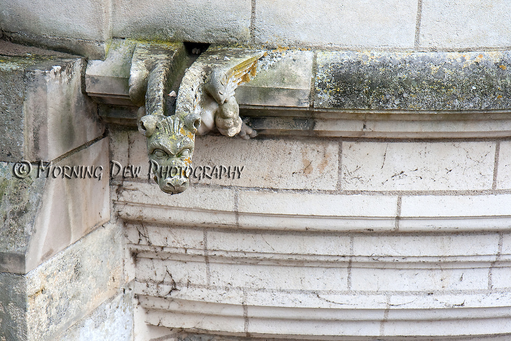 A gargoyle watches silently from a tower at Chateau Chenonceau in France's Loire Valley.