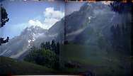 Landscape diptych of a trek in the Himalayas near Shokadari, Kashmir.