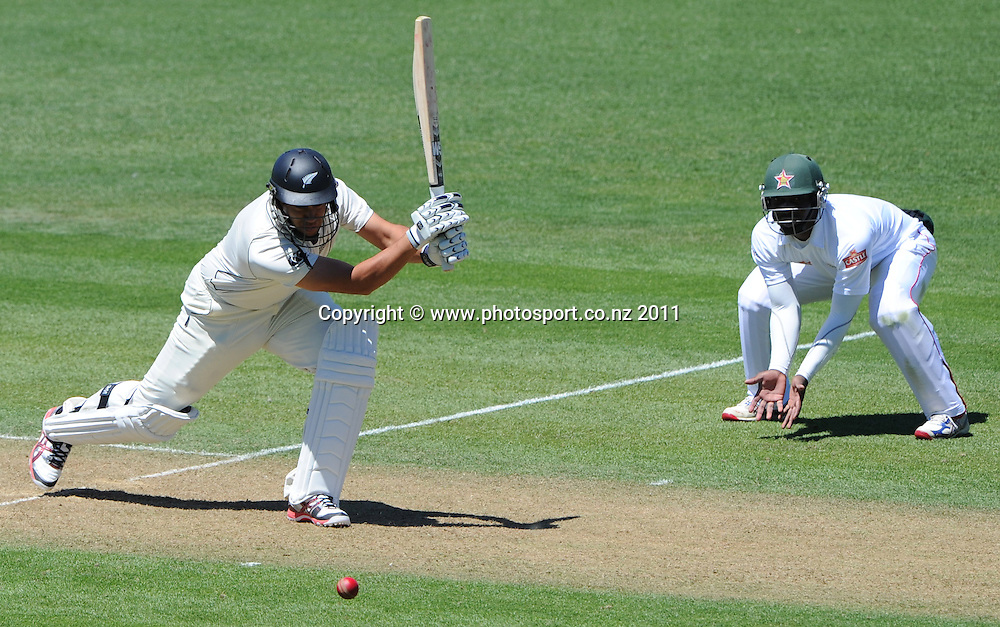 Ross Taylor batting on day 1 of the first cricket test, New Zealand v Zimbabwe at McLean Park. Thursday 26 January 2012. Napier, New Zealand. Photo: Andrew Cornaga/Photosport.co.nz