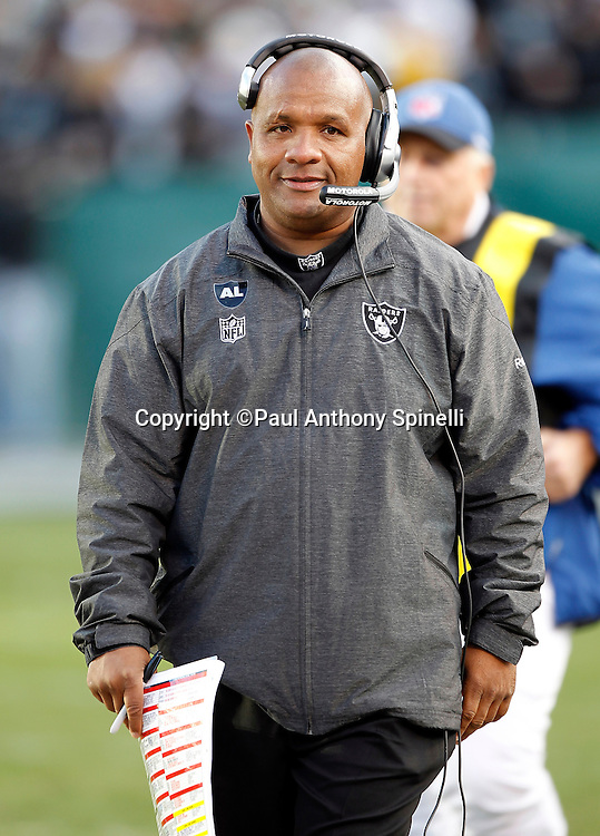 Oakland Raiders head coach Hue Jackson looks on during the NFL week 15 football game against the Detroit Lions on Sunday, December 18, 2011 in Oakland, California. The Lions won the game 28-27. ©Paul Anthony Spinelli