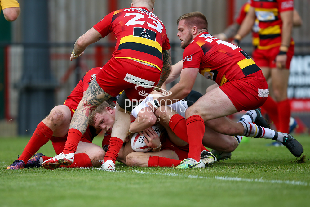 Bradford Bulls scrum half Cory Aston (41) is stopped short of the try line during the Kingstone Press Championship match between Dewsbury Rams and Bradford Bulls at the Tetley's Stadium, Dewsbury, United Kingdom on 10 September 2017. Photo by Simon Davies.