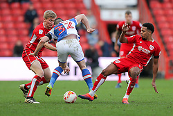 Craig Conway of Blackburn Rovers is challenged by Taylor Moore and Korey Smith of Bristol City - Rogan Thomson/JMP - 22/10/2016 - FOOTBALL - Ashton Gate Stadium - Bristol, England - Bristol City v Blackburn Rovers - Sky Bet EFL Championship.