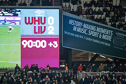 LONDON, ENGLAND - Wednesday, January 29, 2020: The scoreboard records Liverpool's 2-0 victory during the FA Premier League match between West Ham United FC and Liverpool FC at the London Stadium. (Pic by David Rawcliffe/Propaganda)
