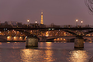 France. Paris. 1st district Art bridge on the Seine river at dusk / le pont des arts sur la Seine